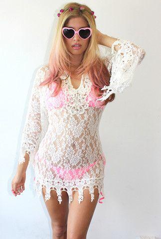 Goddess Crochet Beach Dress ~ Ivory – Rodeo Fox #bohodress #beachdress #crochetcoverup #crochet #lacedress