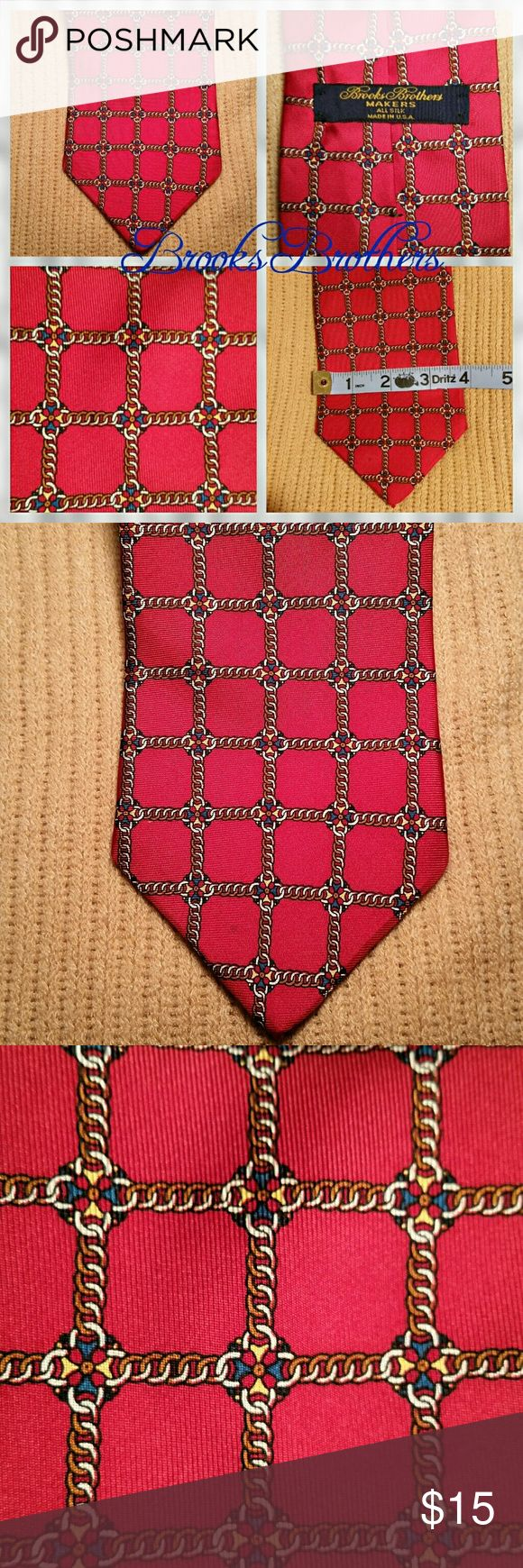 "Brooks Brothers necktie, red Brooks Brothers necktie, 'all silk', red.  4"" across at bottom.  Lovely woven pattern in shades of navy and gold.  Absolutely excellent condition! Brooks Brothers Accessories Ties"