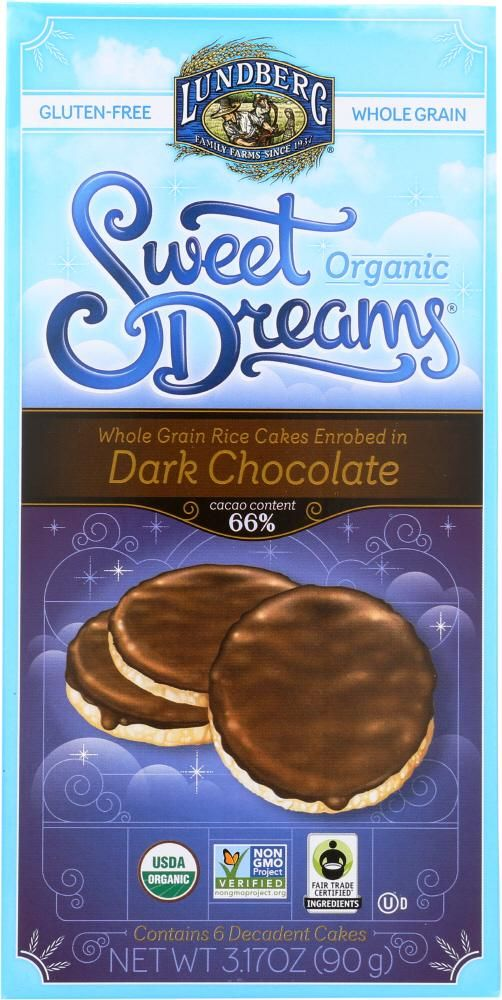 LUNDBERG: Rice Cakes Dark Chocolate 3.2 oz