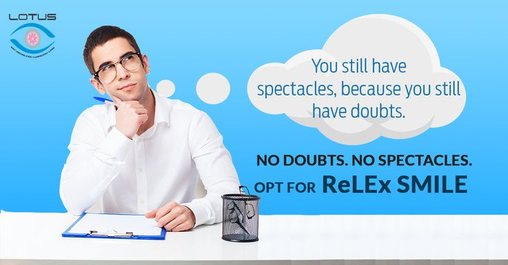 Wearing Glasses, clear your doubts NOW!!! Get your eye power corrected in 15 minutes. No Doubts! No Spectacles! Opt for #ReLEx_SMILE #ReLEx_SMILE is the most advanced Laser vision correction treatment, only at Lotus Eye, Kochi. Visit Lotus Eye Hospital and Institute, Kadavanthra, Ernakulam. http://www.lotuseye.org/relex-smile #LotusEyeHospital_Kochi #AdvancedLasik #visioncorrection