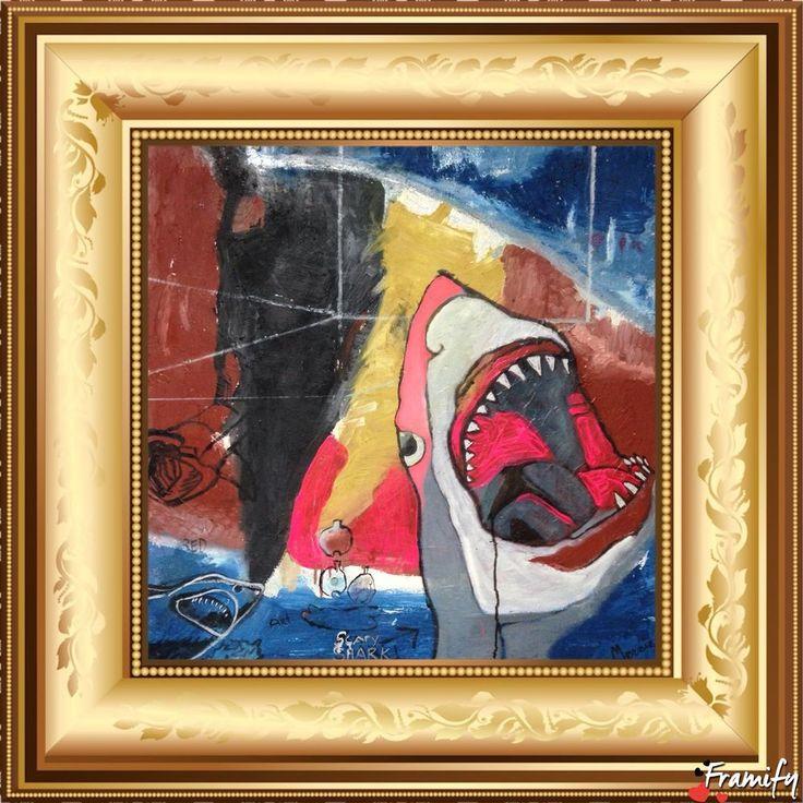 "Shark Abstract 30x 30""canvas stretched original art oil M.Baker"
