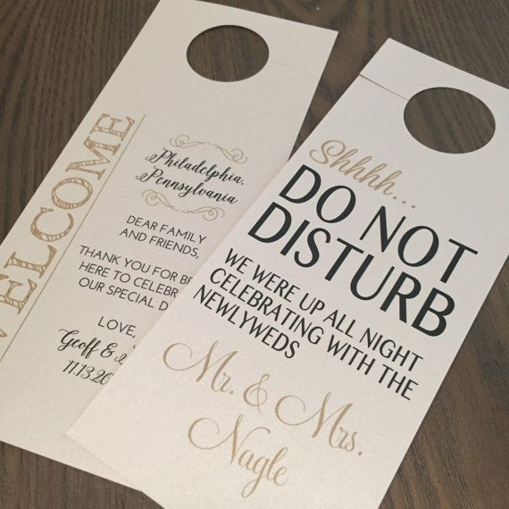 Do Not Disturb Door Hanger + Welcome Note // Double Sided // Personalized and Custom Made. Wedding door hangers featuring a personalized Do Not