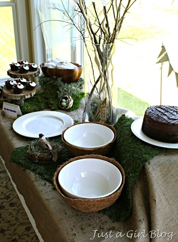 woodland party -- bowls in plant liners