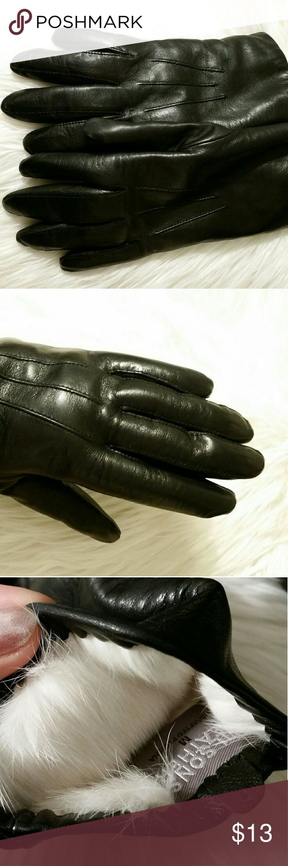 Black leather gloves asos - Black Leather Gloves With White Fur Lining Like New So So Warm All Items