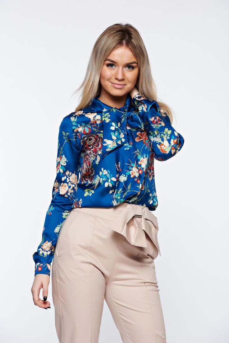 PrettyGirl blue women`s shirt from satin fabric texture office flared tied with bow, women`s shirt, floral prints, tied with bow, satin fabric texture