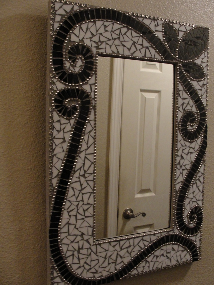 Black and White Mosaic Mirror