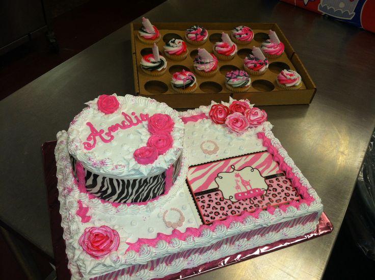 Pink Safari Baby Girl Shower Cake Like The Bottom Half Of The Cake Minus  The Round