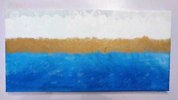 Abstract Blue and Gold Painting on Canvas hand painted