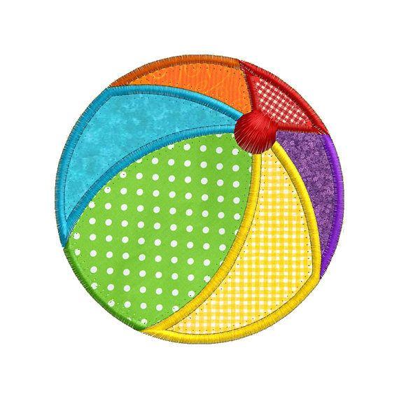 Summer Beach Ball APPLIQUE Machine Embroidery by SewWithLisaB