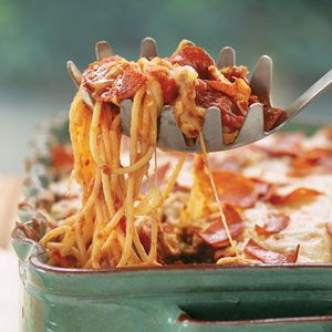Pizza Spaghetti Casserole ~ Sausage, pepperoni, and your favorite jarred pasta sauce fill this cheese-topped casserole. We preferred turkey pepperoni, so you don't get a greasy appearance. Freeze the unbaked casserole up to one month. Thaw overnight in the refrigerator; let stand 30 minutes at room temperature, and bake as directed.