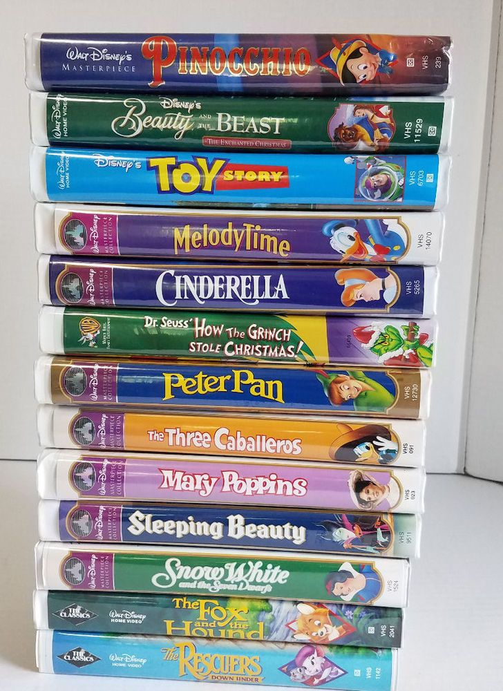 Disney VHS Lot of 13 Pinocchio Beauty & and the Beast Peter Pan #2