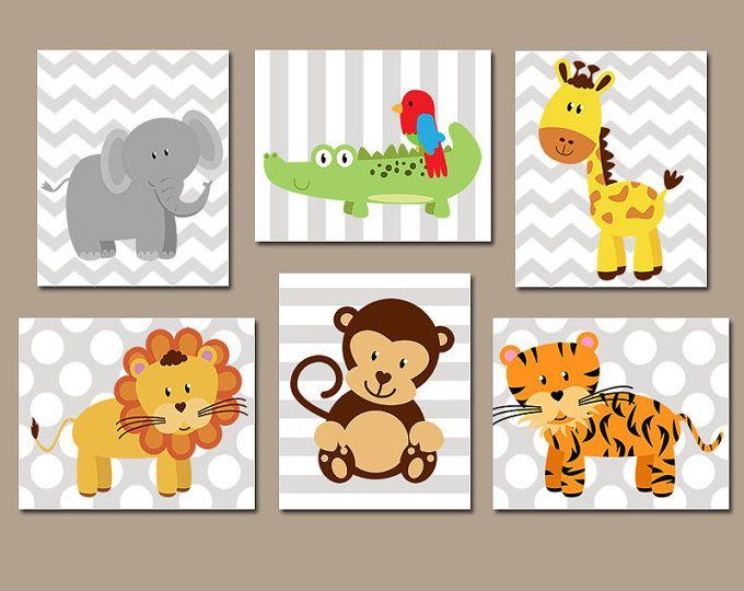 Jungle ANIMALS Wall Art, CANVAS or Prints, Safari Theme, Baby Boy Nursery Artwork, Playroom Pictures, Elephant Monkey Lion Giraffe Set of 6
