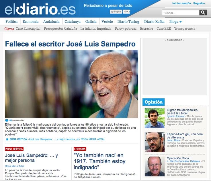 Portada de eldiario.es. 9 de abril de 2013. Muerte de José Luis Sampedro.