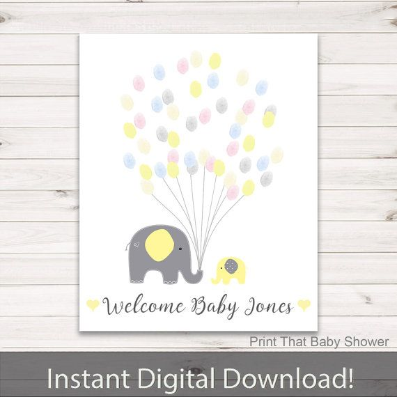 Baby Shower Fingerprint Guest Book   Elephant Baby Shower   Personalized  Alternative Guest Book   Fingerprint Tree   Yellow Elephant From Print That  Baby ...