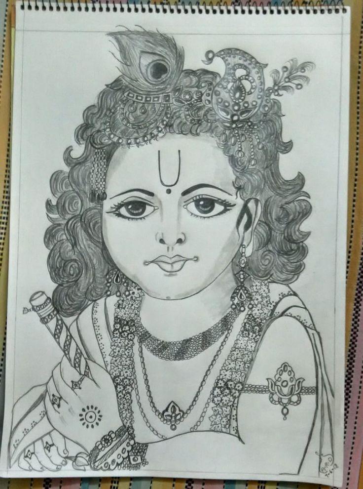 Lord Krishna - pencil drawing | Ganesha drawing, Pencil ...