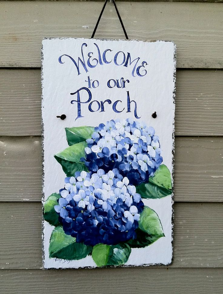 Hydrangea Painted House Plaques