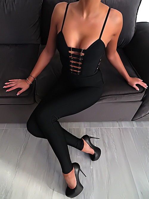 Schwarz Stretch Catsuit Jumpsuit Overall W97 Sexy Damen Best Fit Perfect Sexy S