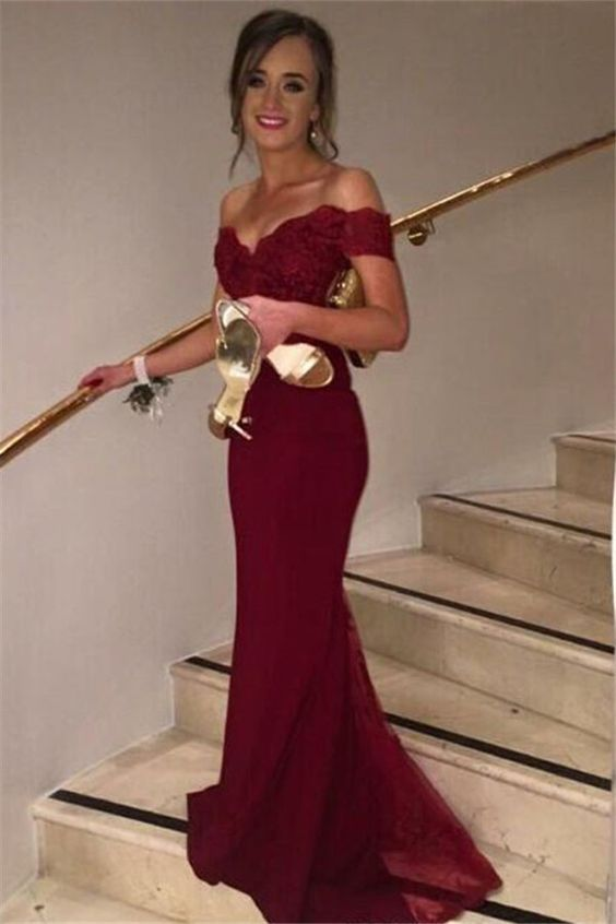 Off Shoulder Burgundy Prom Dress,Chiffon Prom Dress,Evening Dress,Formal Dress