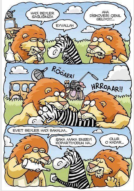 - Hadi beyler sağlığınıza + Eyvallah - Aha Diskoveri Çenıl geliyo!!!... + Rööarr! Hrroaar!! - Evet beyler hadi bakalım.. + Şaka maka enseyi kopartıyodun ha.. - Olur o kadar...  #karikatür #mizah #matrak #komik #espri