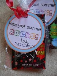 "I should totally do this next year as my end of the year gift because our class theme is ""Third Grade Rocks"""