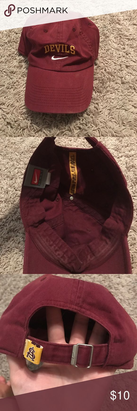 SALE! Nike Arizona State University Sun Devils Hat Nike ASU Sun Devils Hat! Love this hat but I got a new one during this football season and didn't wear this one at all. Super comfy. Adjustable in the back, hole for a ponytail. Nike Accessories Hats