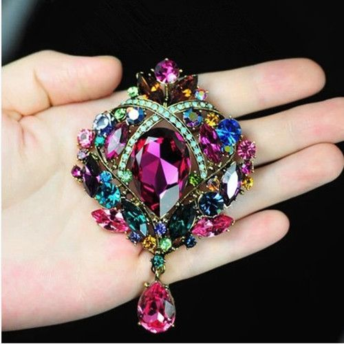 Bronze Plated Large Muticolored Rhinestone Crystal Water Drop Elegant Bridal Pin Brooch