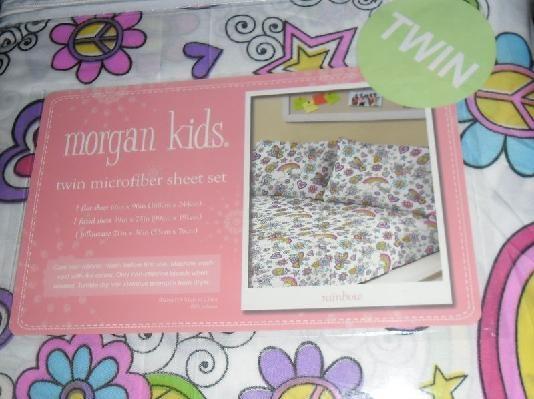 morgan kids 3 piece twin size sheet set rainbow