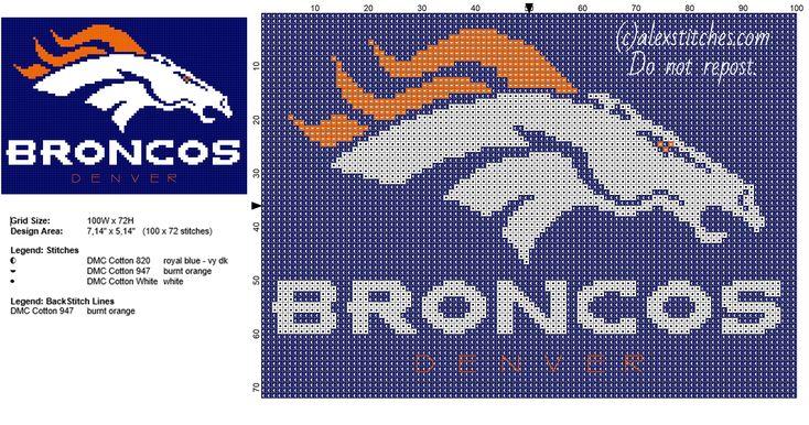 Denver Broncos NFL National Football League Team logo free cross stitch pattern