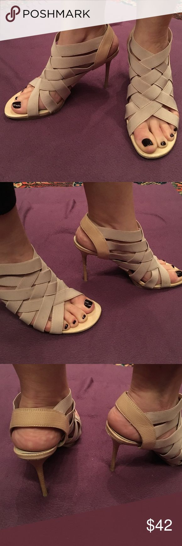 """Super cute criss cross Donald Pliner 4"""" heel Nude Donald Pliner Maddie strappy sandal.  Thin bandage straps are super comfy and flattering across the top of the foot.  Plenty of give throughout the day but they never get loose!  4"""" heels, also have a slightly less than 1/2"""" platform.  Nudes go with everything!  Runs big.  Snakeskin heel.  Beige pink straps.  Really light pink.  Great condition. Donald J. Pliner Shoes Heels"""
