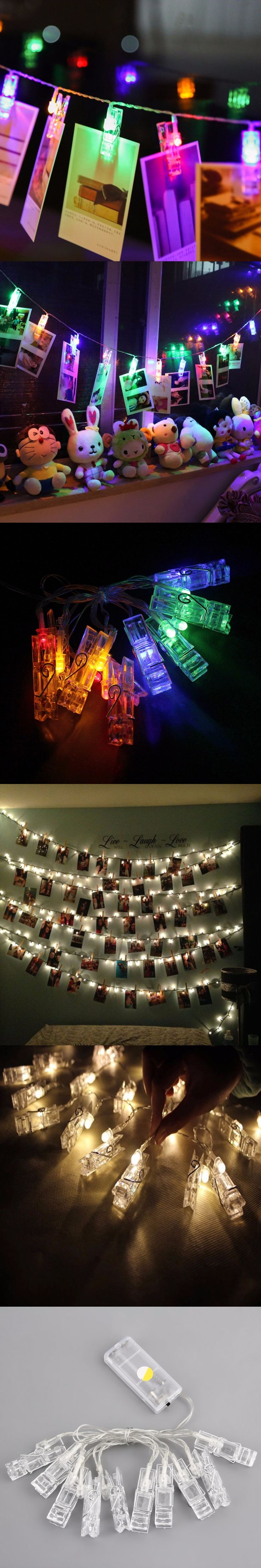 ICOCO 2017 20 LED Card Photo Clip String Lights Battery Christmas Lights Party Wedding Home Bedroom Decoration Fairy lights