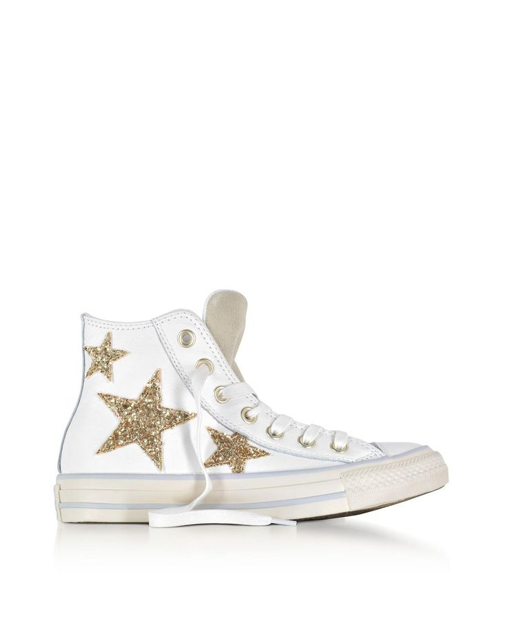 Converse | White Chuck Taylor All Star High Curved Eyestay Leather Sneakers W/glitter Stars | Lyst