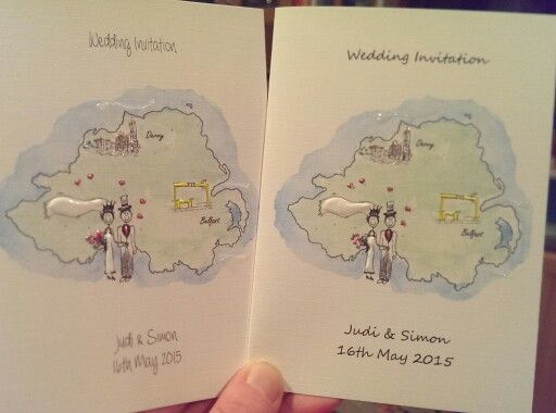Sample wedding stationery for couple from Northern Ireland.