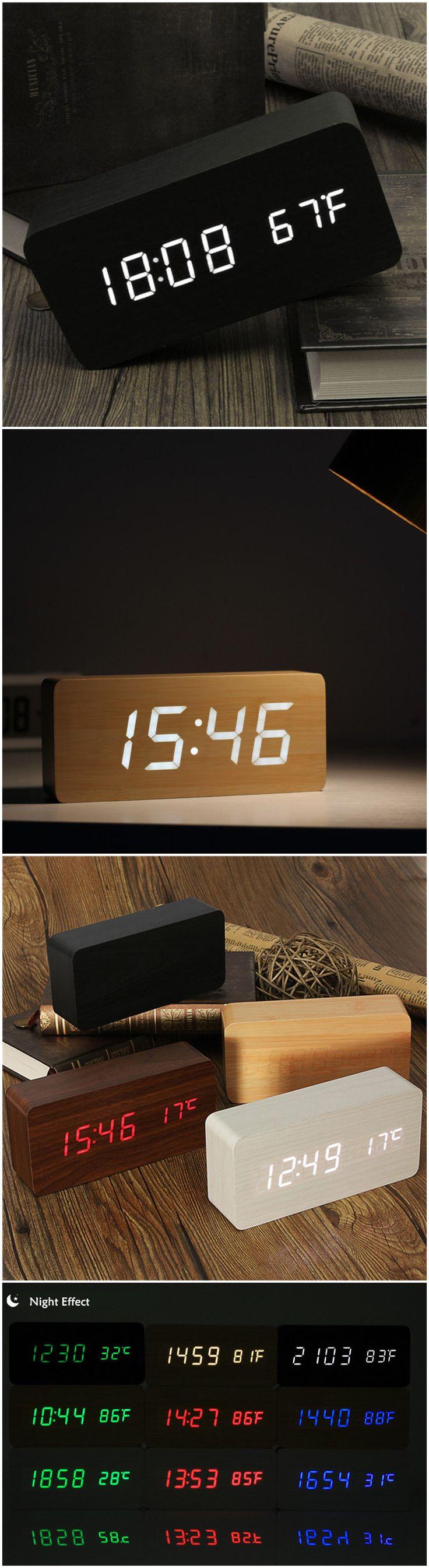 Voice Control Wooden Box LED Alarm Clock Digital Desk Clock Thermometer Calendar at Banggood