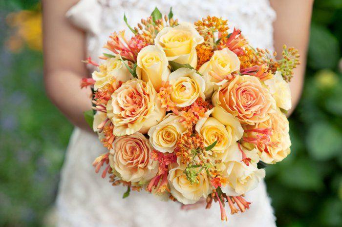 braut blumenstrauss hochzeit sommer gelbe rosen