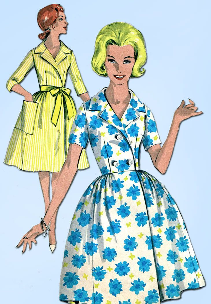 1960s Vintage Advance Sewing Pattern 2943 Easy Misses House Dress Size 12 32B