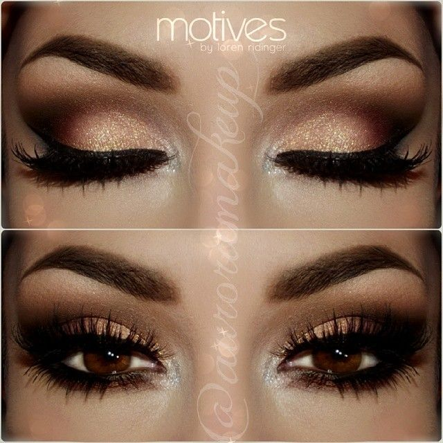 Black and gold smokey eye prom makeup