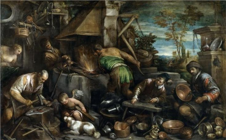The Forge of Vulcan, 1585 - Jacopo Bassano - WikiArt.org - encyclopedia of visual arts
