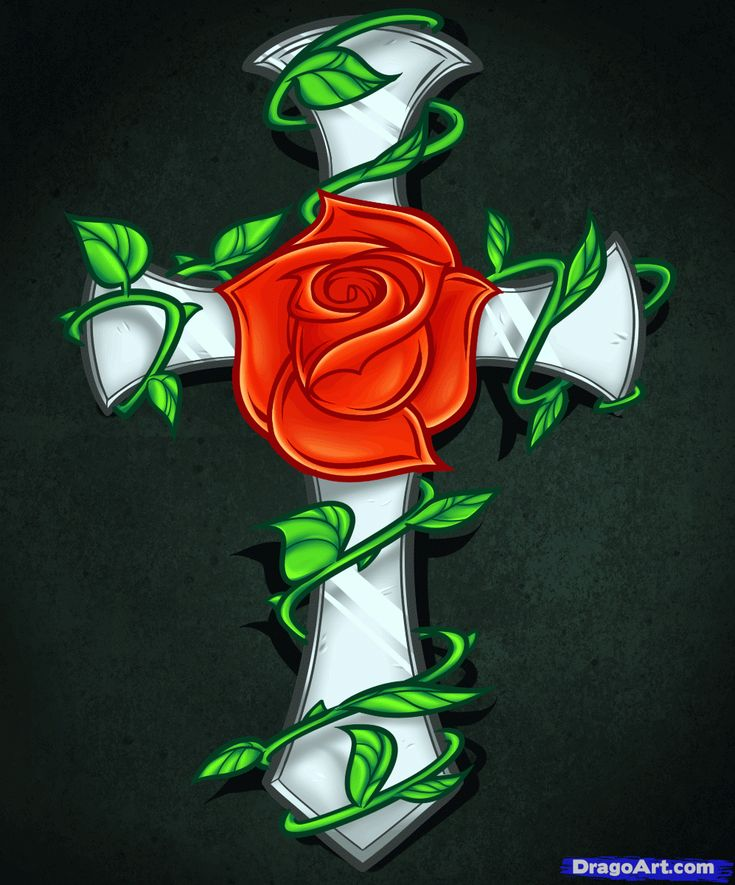 Drawings of Roses and Hearts   How to Draw a Rose and Cross Tattoo, Step by Step, Tattoos, Pop ...