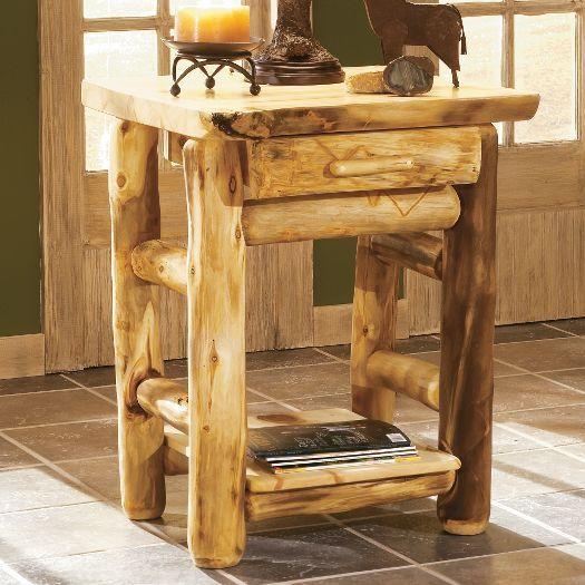 Aspen log nightstand log interior pinterest aspen for Aspen logs for decoration