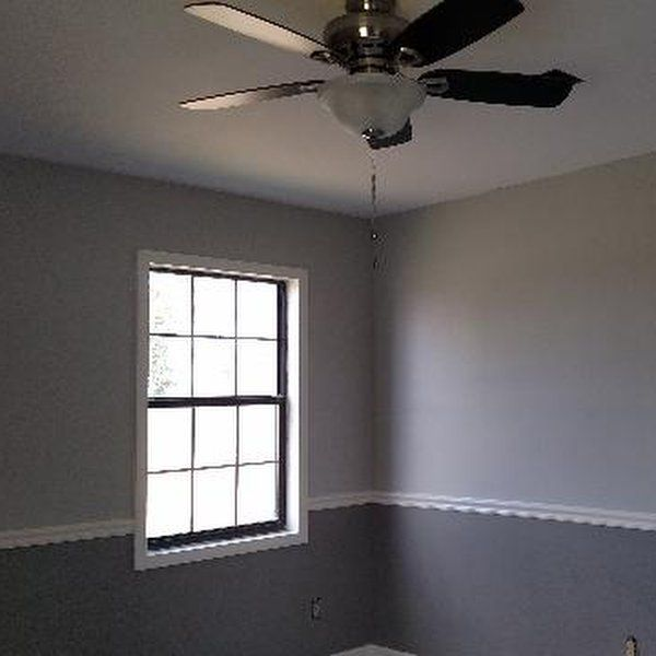 Beautiful Colors chose from Sherwin Williams. Top is Repose Gray latex satin. Trim is Enamel in Dover White, bottom color is latex satin in Acier.
