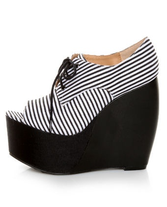 Penny Loves Kenny Niley Black and White Striped Oxford Platforms - $89