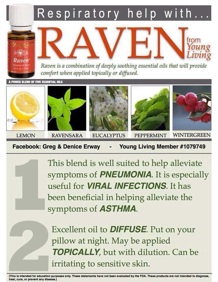 Young Living Raven Essential Oil for Pneumonia and viral infections. To learn more about oils visit http://www.livingyourlifenaturally.com/order-oils/