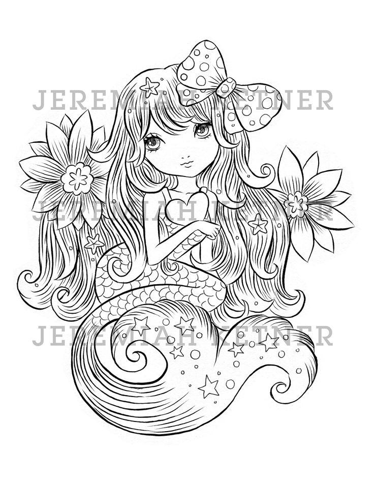 Cute Mermaid Jeremiah Ketner Coloring Page Instant