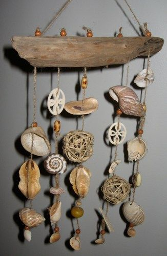 Beachy Beige Driftwood Shell Mobile - try to diy