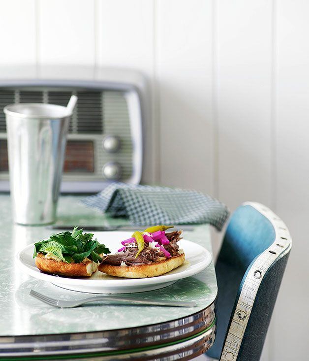 Australian Gourmet Traveller recipe for slow-roasted lamb burgers