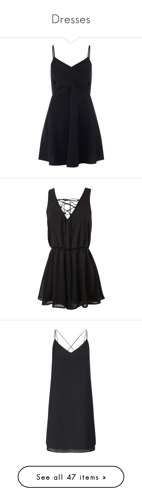 """""""Dresses"""" by fivesecondsofphan ❤ liked on Polyvore featuring dresses, black, petite, wrap dress, skater dress, cut out dress, cutout dress, petite skater dress, jumpsuits and rompers"""