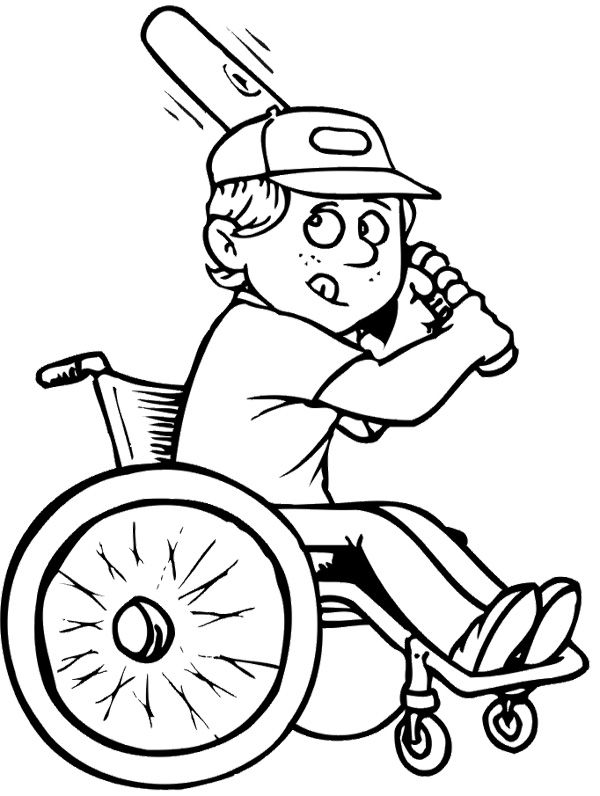 Athletes Baseball Disabilities Coloring Page