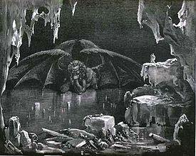 Illustration de Gustave Doré de Satan vu par Dante Alighieri dans son livre La Divine Comédie.