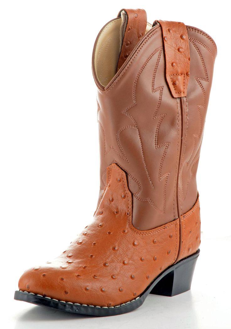 Old West Ostrich Cognac Western Kids Boot