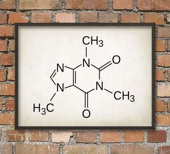 Caféine molécule affiche caféine Illustration par QuantumPrints